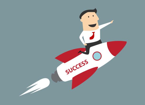 Flat cartoon businessman flying on rocket to success