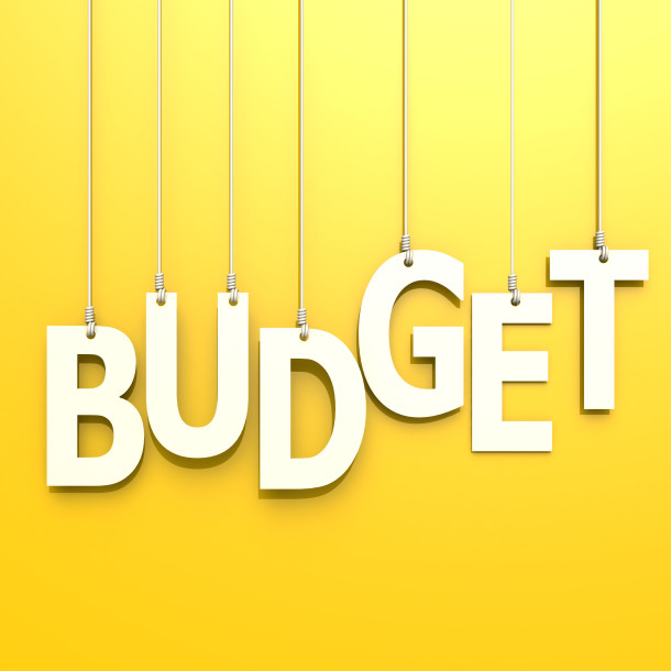 Budget word in yellow background